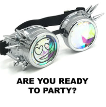 Load image into Gallery viewer, Rave Kaleidoscope Funny meme Party Glasses, Silver Spiked, Happy Face