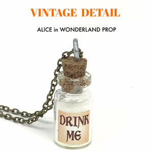 Alice in wonderland necklace Glow in the dark