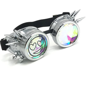 Rave Kaleidoscope Funny meme Party Glasses, Silver Spiked, Happy Face