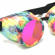 Load image into Gallery viewer, UV Glow in The Dark Steampunk Goggles Retro Round Rave Glasses, Rainbow Frame- Neon Pink Paste Lenses