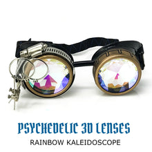 Load image into Gallery viewer, steampunk goggles rave glasses kaleidoscope lenses ocular loupes