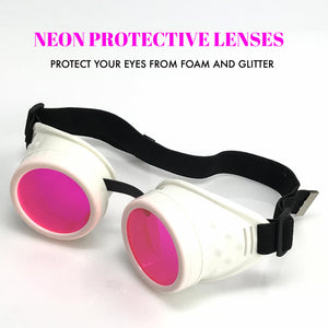 UV Glow in The Dark Steampunk Goggles Retro Round Rave Glasses, White Frame- Neon Pink Lenses