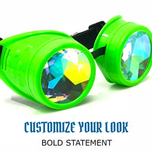 Load image into Gallery viewer, Rave Kaleidoscope Glasses for EDM music festival, Steampunk Diffraction Goggles, Neon Green frame