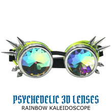 Load image into Gallery viewer, LED Light up Goggles Glow in the Dark, Kaleidoscope Rave Glasses, Green El Wire, Shiny Silver Spiked Steampunk Diffraction Goggles