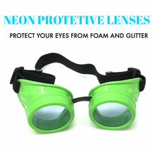 Load image into Gallery viewer, UV Glow in The Dark Steampunk Goggles Retro Round Rave Glasses- Neon Green Frame-Neon Blue Lenses