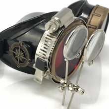 Load image into Gallery viewer, Steampunk Goggles in Victorian style with Compass Design, Rose Red lenses & ocular Loupe