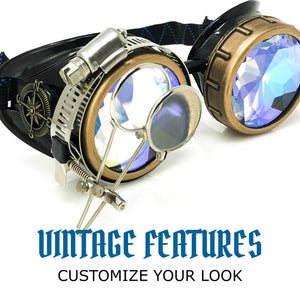 Steampunk Goggles in Victorian style with Compass Design, 3D Kaleidoscope lenses & ocular Loupe