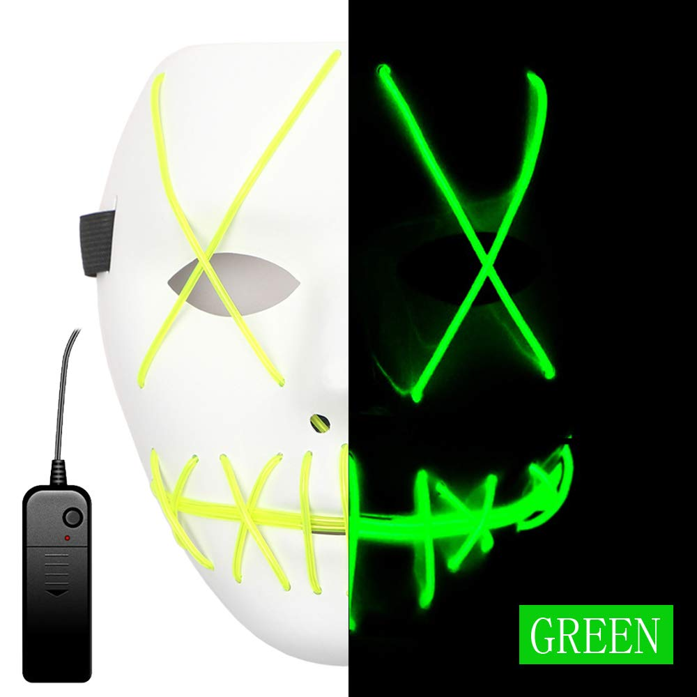 Rave Mask Led Green Purge Costume Mask Halloween Cosplay