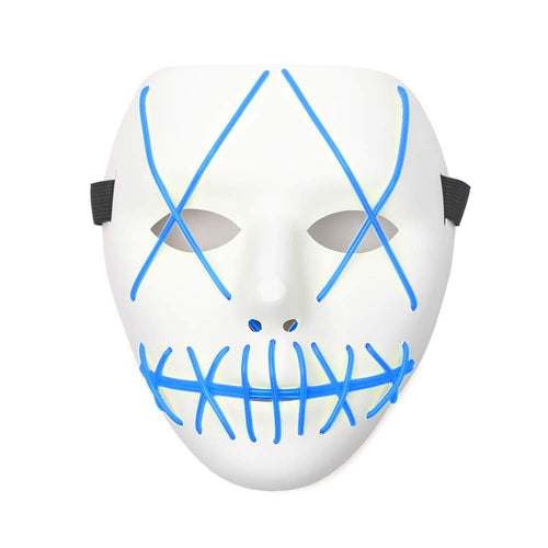 Rave Mask Led Blue Purge Costume Mask Halloween Cosplay