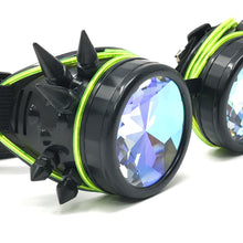 Load image into Gallery viewer, LED Light up Goggles Glow in the Dark, Kaleidoscope Rave Glasses, Green El Wire, Black Spiked Steampunk Diffraction Goggles
