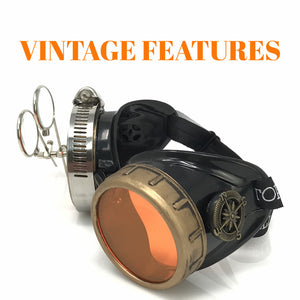 Steampunk Goggles in Victorian style with Compass Design, UV Glow in the Dark Neon Orange Lenses & Ocular Loupe
