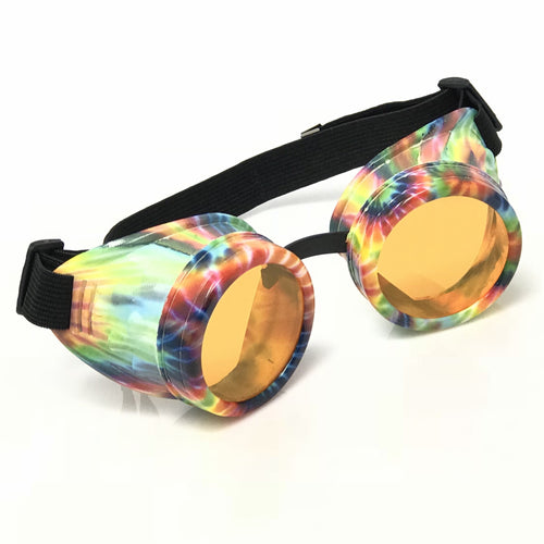 UV Glow in The Dark Steampunk Goggles Retro Round Rave Glasses, Rainbow Frame- Neon Orange Lenses