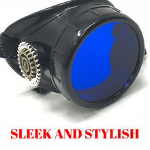Load image into Gallery viewer, Steampunk Monocle Eyepatch Goggles- Rave Glasses, azure blue lens