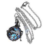 Load image into Gallery viewer, UMBRELLALABORATORY Steampunk FIRE necklace - pendant Glow locket - GREAT GIFTS for teen girls, Mother, Father, little girls jewelry-silver Blue