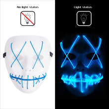 Load image into Gallery viewer, Rave Mask Led Blue Purge Costume Mask Halloween Cosplay