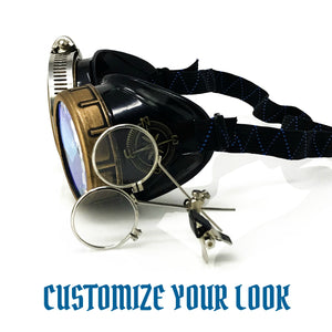 Steampunk Victorian Style Goggles with Compass Design, 3D Kaleidoscope lenses & ocular Loupe