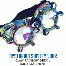 Load image into Gallery viewer, Rave Kaleidoscope Glasses for EDM music festival, Steampunk Diffraction Goggles, Claw Spiked frame
