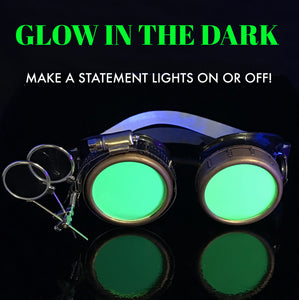 Steampunk Goggles in Victorian style with Compass Design,UV glow Neon Green lenses & ocular Loupe