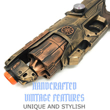 Load image into Gallery viewer, Steampunk Disruptor Nerf Gun, Holster, and belt Toy Prop set