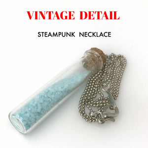 Steampunk Necklace Magic Fire Fairy Angel Dust Pendant Charm Glow in The Dark Kawaii Pixie Blue