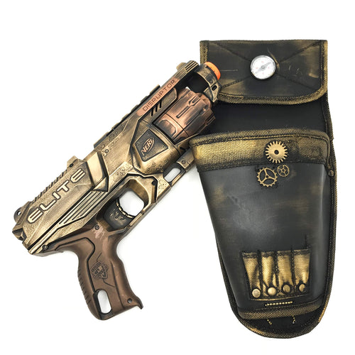 Steampunk Disruptor Nerf Gun, Holster, and belt Toy Prop set