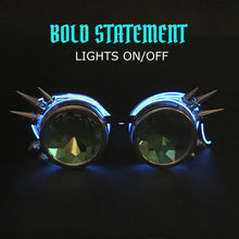 Load image into Gallery viewer, LED Light up Goggles Glow in the Dark, Kaleidoscope Rave Glasses, Blue el Wire, Black Spiked Steampunk Diffraction Goggles