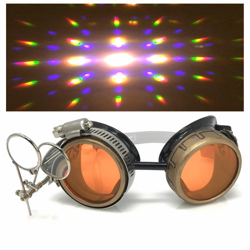 Steampunk Goggles in Victorian style with Compass Design,UV glow Neon Orange lenses & ocular Loupe, Rave Diffraction Glasses