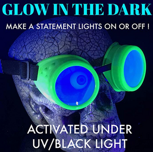 UV Glow in The Dark Steampunk Goggles Retro Round Rave Glasses- Neon Green Frame-Neon Blue Lenses