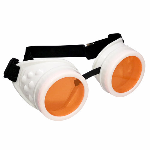 UV Glow in The Dark Steampunk Goggles Retro Round Rave Glasses, White Frame- Neon Orange Lenses