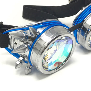 LED Light up Goggles Glow in the Dark, Kaleidoscope Rave Glasses, Blue El Wire, Shiny Silver Spiked Steampunk Diffraction Goggles