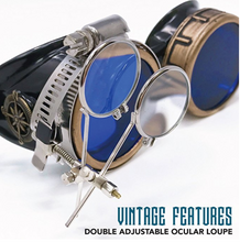 Load image into Gallery viewer, Victorian Steampunk Goggles azure blue lenses rose compass with magnifying eye loupes
