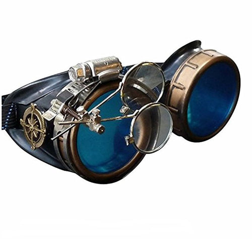 Victorian Steampunk Goggles azure blue lenses rose compass with magnifying eye loupes