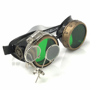 Steampunk Goggles in Victorian style with Compass Design, Emerald Green & ocular Loupe