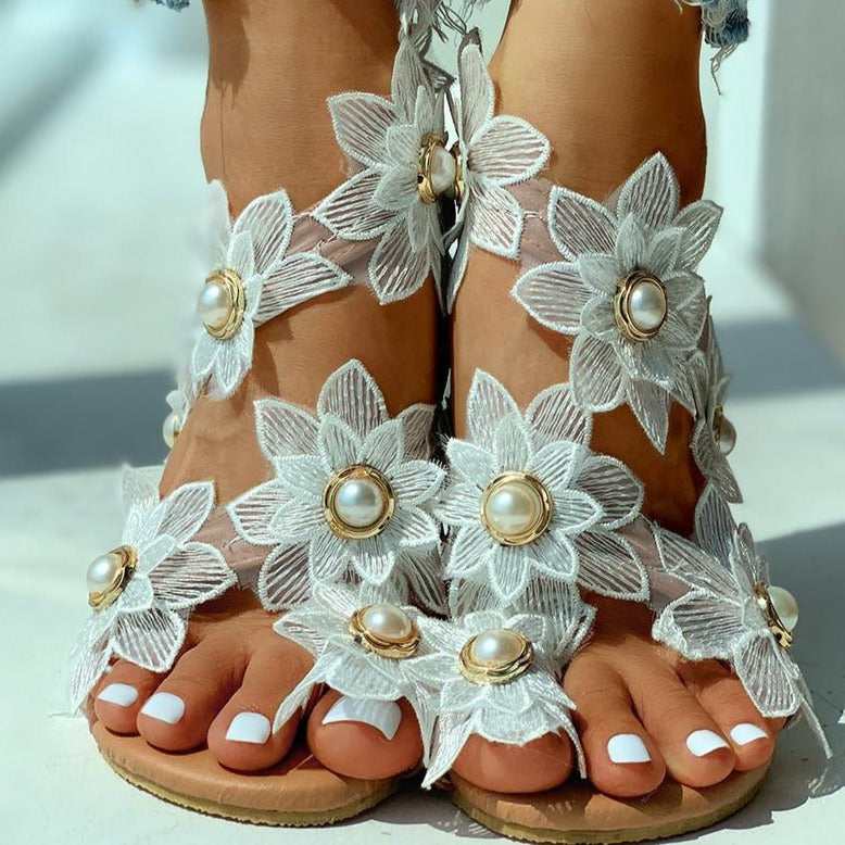Pearl Flower Sandals