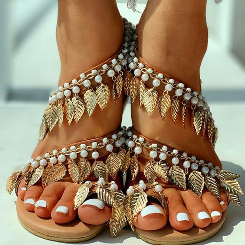 Feather Pearl Sandals