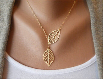 Fresh Leaves Outline Necklace