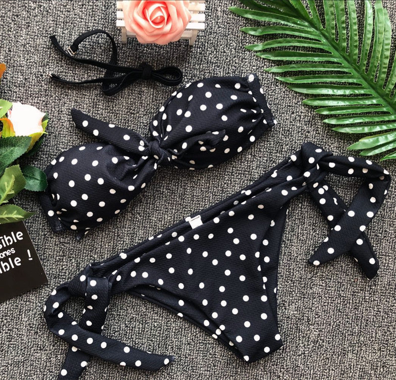 Strapless Dot Swimsuit