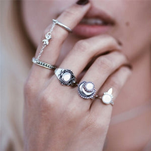 Boho Moonlight 4 Ring Set