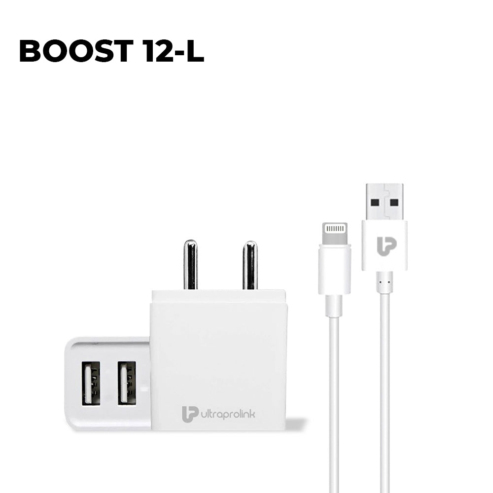 Boost12 -2.4A /12W Dual USB Fast Travel Adapter with Smart IC & 1m Lightning  Cable