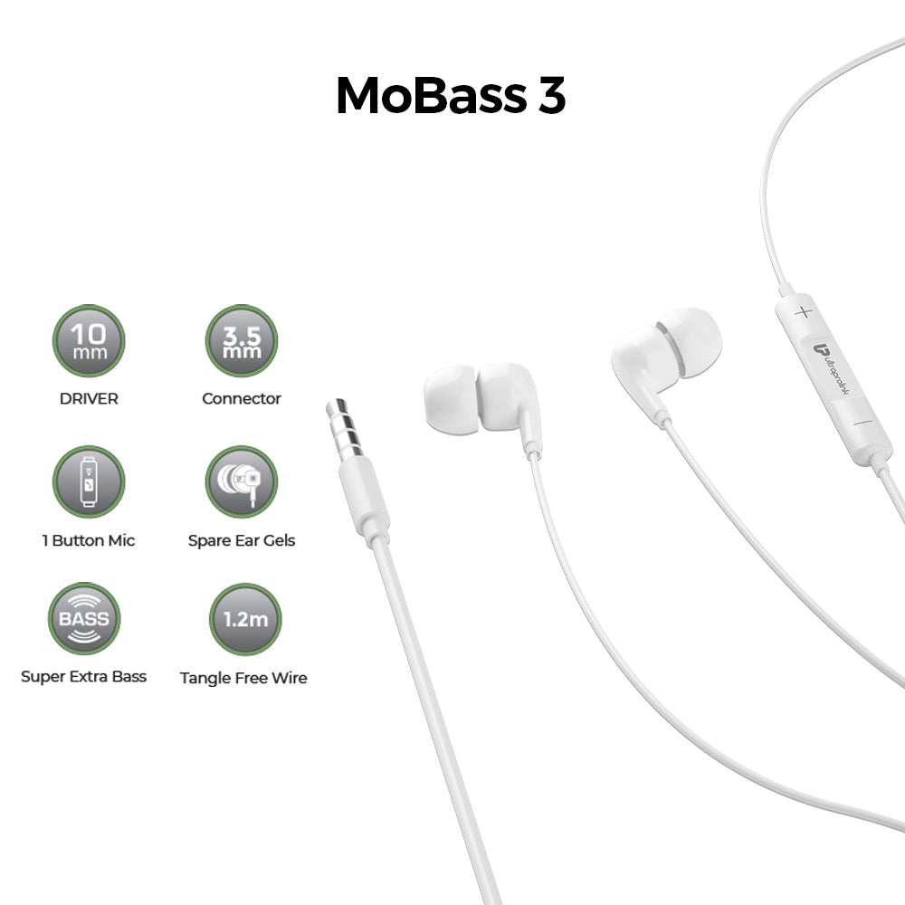 UltraProlink MoBass UM1041 Noise Isolation Hands free earphone with mic