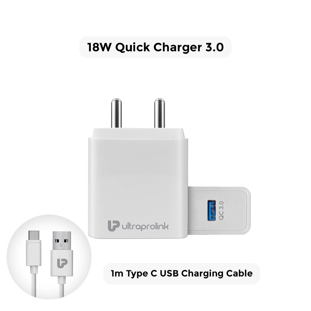BOOST QC  18W Quick Charger 3.0 + 1m Type C Cable (White)