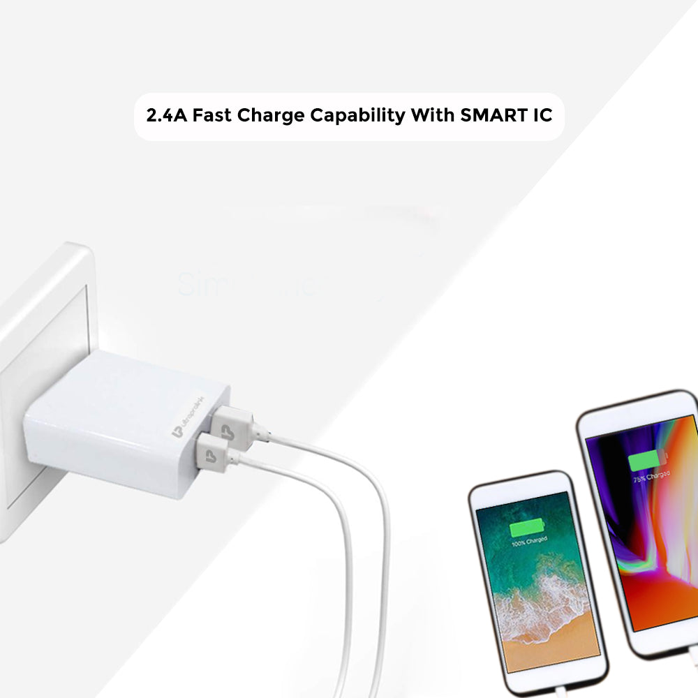 UltraProlink Boost12 UM1028 2.4A /12W Dual USB Fast Charging Wall Charger/Travel Adapter with Smart IC with 1m USB Type C Charging Cable (White)