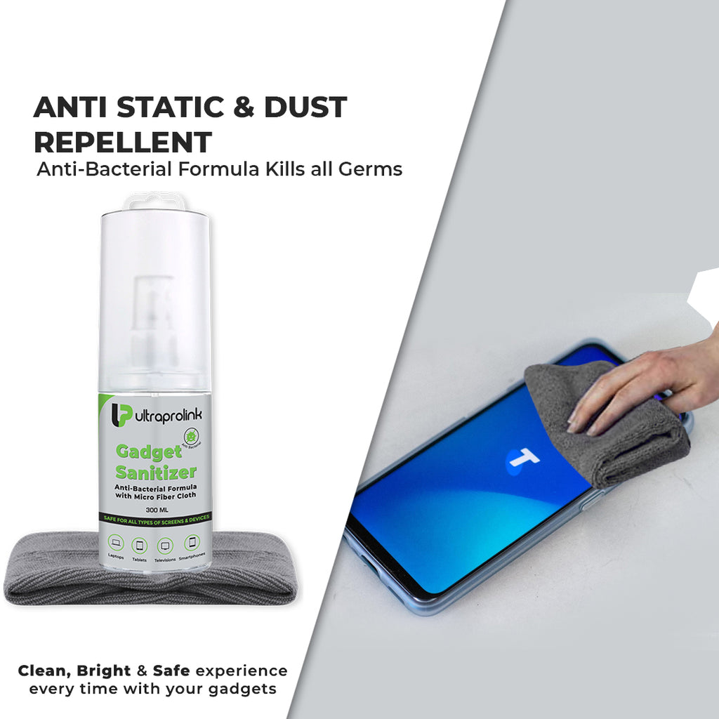 Anti-Bacterial Gadget Sanitizer with Micro Fiber Cloth (300ml)
