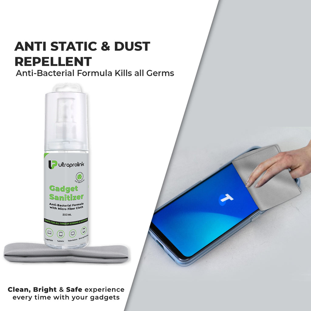 Anti-Bacterial Gadget Sanitizer with Micro Fiber Cloth (200ml)