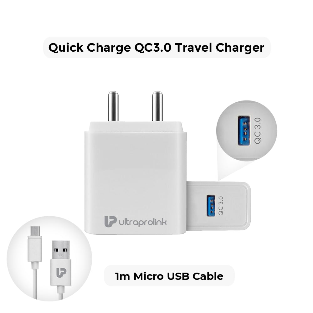BOOST QC  18W Quick Charger 3.0 + 1m Micro USB Cable (White)