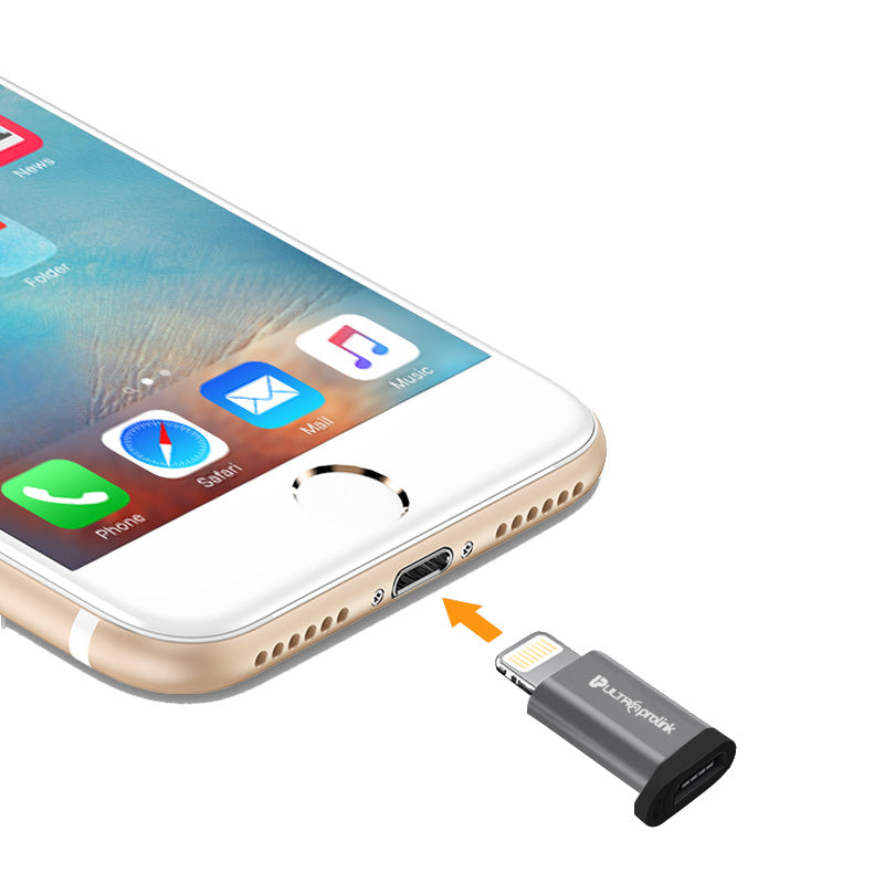 UltraProlink UL0076 Combo Pack : Micro USB to Type C convertor x 1 and USB to iPhone convertor x 1 /  Data Sync and Charging