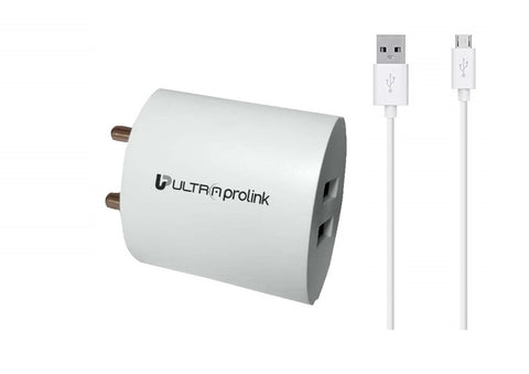 UltraProlink Boost UM0081 2.1A/10.5W Dual USB Fast Charging Wall Charger/ Travel Adapter with 1m Micro USB Charging Cable (White)