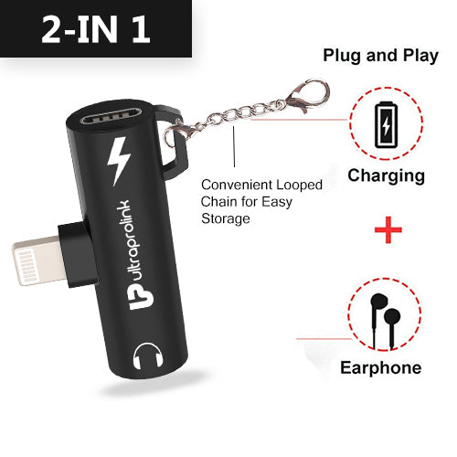 Audio Link- iPhone to 3.5mm Audio Charging convertor & connector for iPhone®/ iPad® UL1020L (Black)