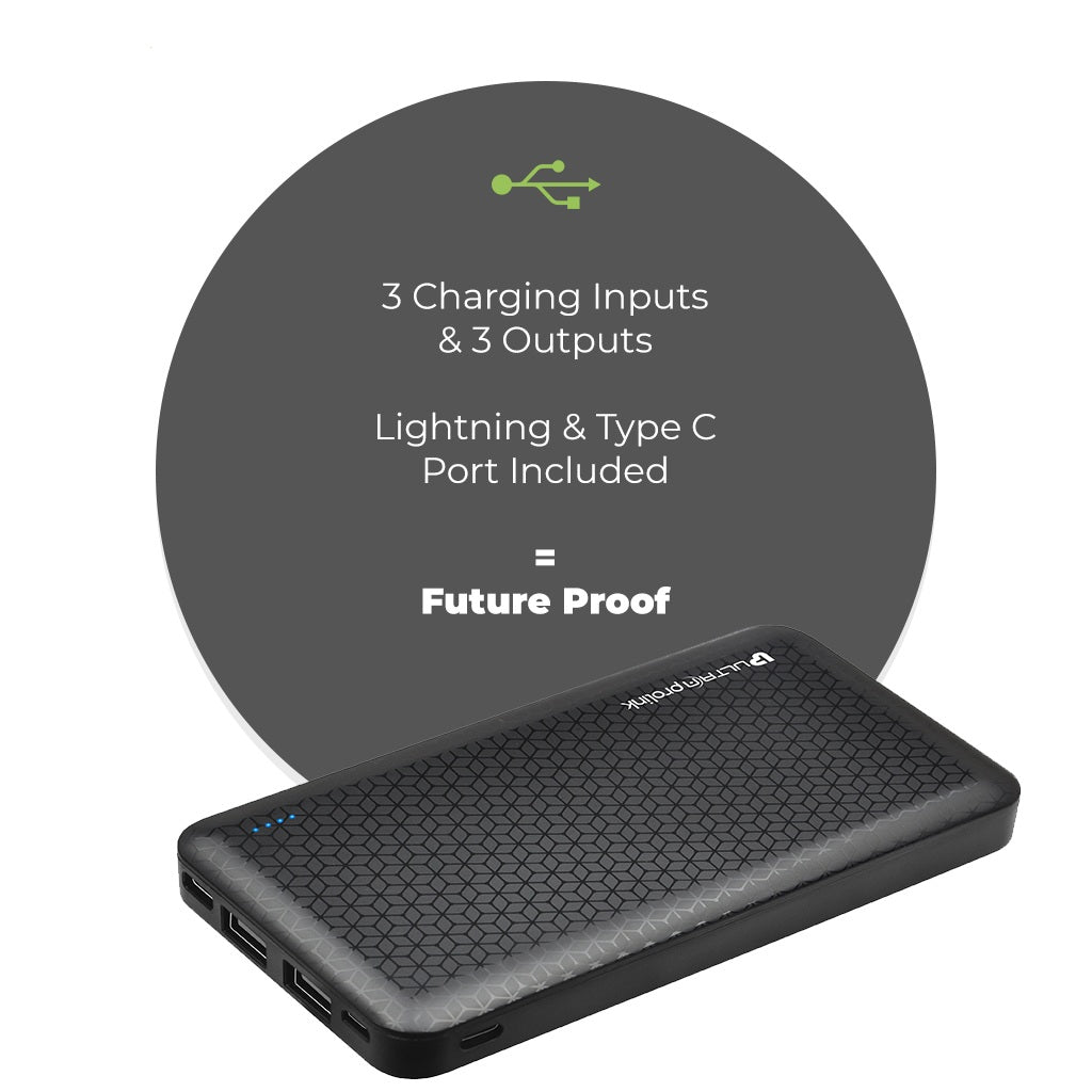 UltraProlink UM0102 Boost10k 10000mah Li-Polymer Slim Power Bank with 3 inputs & 3 outputs 10.2W Fast Charging (Black)