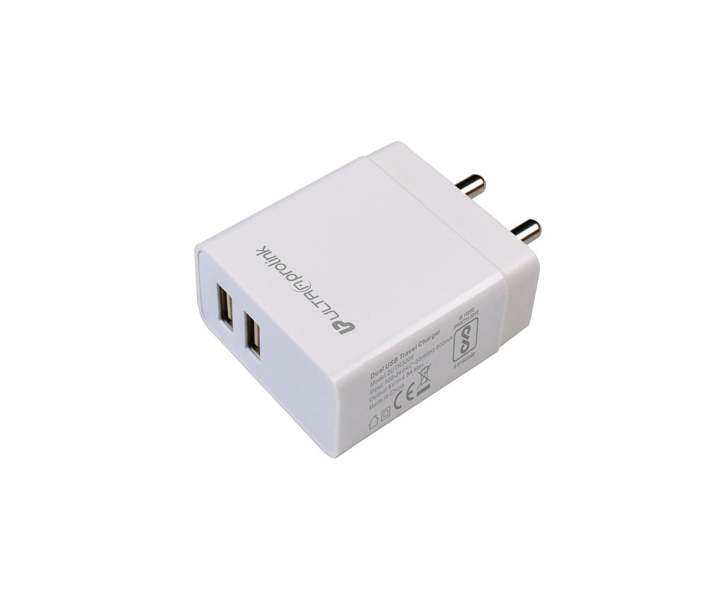 UltraProlink UM0088 Boost 24 Dual USB Fast Wall Charger 24W/4.8A with smart IC, Universal Travel Adapter